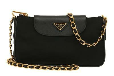 NEW PRADA BLACK SAFFIANO LEATHER TESSUTO LOGO CROSS-BODY SMALL CHAIN BAG