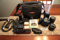 Canon T2i 3 lenses and accessories