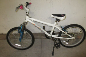 Girls Bike, Attractive White with Pink and Blue,  6 Speed