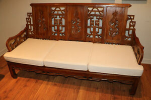 Authentic Indonesian carved teak wood bench