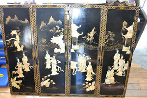 Oriental Wooden Mother Of Pearl Wall Hanging 4 Panels TRADES OK