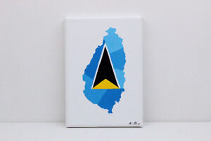 St Lucia Flag Map Original Painting
