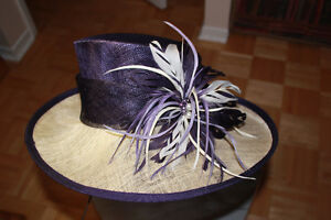 Jacques Vert Purple and Cream hat
