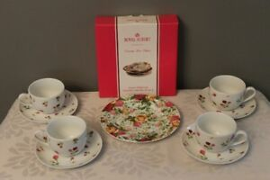 Royal Albert Country Rose Dessert Plates & Tea Cup sets (4) -NEW