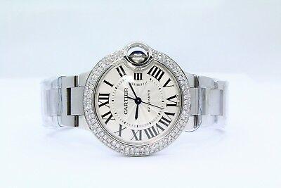 Cartier BALLON BLEU Stainless Steel 33MM Diamond Bezel Watch Reference W6920071