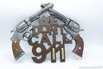 "Rustic Decor ""We Don't Call 911"" Crossed 6 Shooter Bullet Diamond Wall Plaque"
