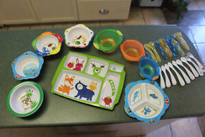 Lot of Baby bowls, plates, forks and spoons baby einstein etc.