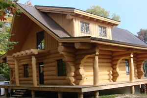 Handcrafted log home shell-diamond cut notches_ Cornwall Ontario image 3
