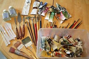 Used Oil Paints, Brushes and painting knives