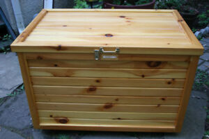 Elegant Cypress Storage Box with Lock in good condition.