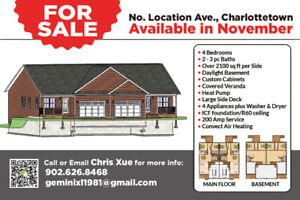 4 bed 2 bath new duplex for sale in Charlottetown