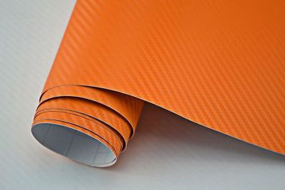 5,42€/m²  3D Carbon Folie orange blasenfrei 1200 x 152cm Klebefolie Carbon Optik