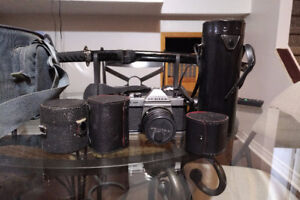 Pentax Film Camera with lenses