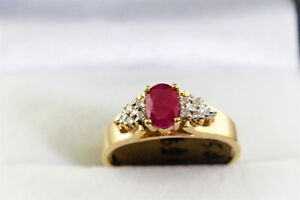 NEW STAMPED 10K. GOLD RUBY & DIAMOND RING FPR SALE