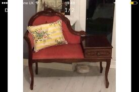 Antique telephone table chair