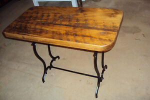 HAND PLANED PINE PLANK TOP TABLE--CAST IRON LEGS