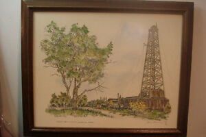 Alberta's 1st. Oil Rig Painting