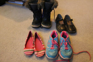 4 Pairs girls shoes, size 1  (winter boots size 2)