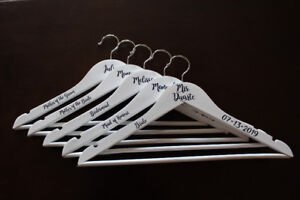 Personalized Bridal Party Items: Hangers, wine glasses, flasks