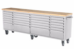 NEW24 DRAWER STAINLESS STEEL 8 FT WORK BENCH TOOL DRAWER CABINET