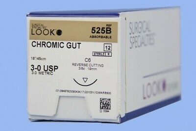 Look Chromic Gut Absorbable Reverse Cutting Sutures Angiotech 12bx