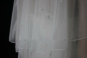 2 Tier Rhinestone Scatter Fingertip Length Wedding Veil  -New