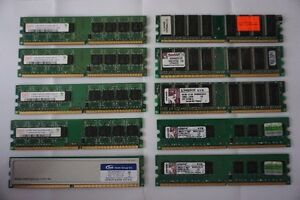 Lot de RAM 512Mb 1Gb 2Gb