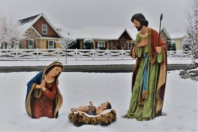 Outdoor Nativity Set 3pc Holy Family Jesus Mary Joseph 22 inch Resin Indoor DS