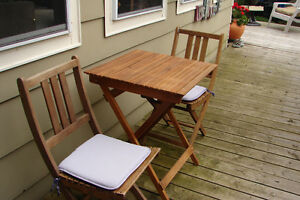 Teak Bistro Table & 2 Chairs