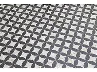 """British Ceramic Tiles: Feature Floors """"Bertie"""" Black & Ivory 1.4 sq metres"""