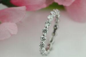 STUNNING 14K WHITE GOLD FULL ETERNITY DIAMOND RING LIKE NEW!