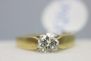 18K Yellow Gold Solitaire Engagement Ring 1ct Size 4.25 (#2154)