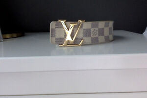 Louis Vuitton belt, white and brown checked, both size 36