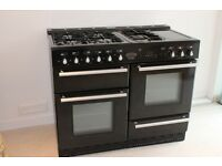 Rangemaster Toledo 110, dual fuel, 5 burners, gloss black finish. Double Oven.
