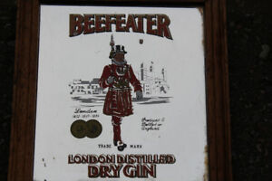 Vintage Beefeater London Dry Gin Mirror Wall Art Frame