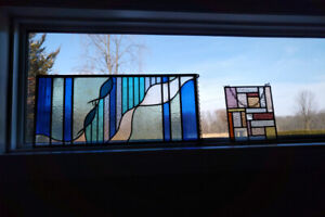 Stained Glass with hanging chain.