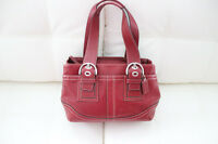 Red Leather Coach Stitch Tote Handbag- EXCELLENT CONDITION!