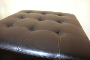Superb Very Large Leather Square  Ottoman SEE VIDEO