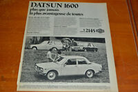 ANONCE 1969 DATSUN 1600 - FRENCH AD
