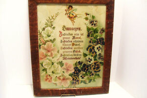 Victorian Framed German House Blessing with Cherub and Pansies -