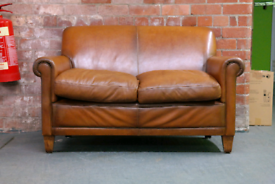 Laura Ashley Burlington Leather Suite - Sofa Armchair Footstool