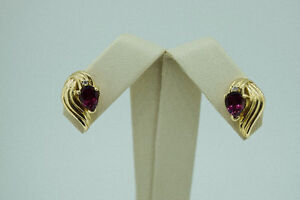 Elegant 14K Yellow Gold Garnet and Diamond Earrings