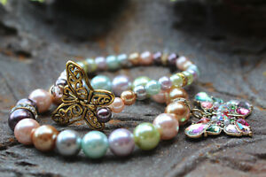 New! Fall into Autumn... Vintage Style Butterfly Charm Bracelet