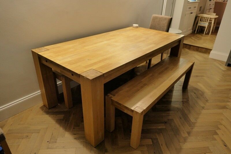 Solid Oak Extendable Dining Table 2 3m With 2x Benches