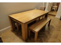 Solid Oak Extendable Dining Table (2-3m), with 2x Oak Benches