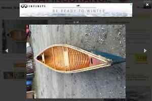 16' cedar plank and canvas canoe TRADE for outboard or?