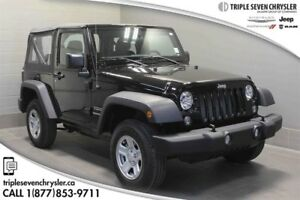 2017 Jeep Wrangler Sport Only 90 KM!  Save Thousands!  AS NEW!