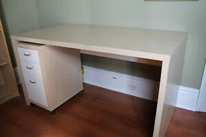 IKEA COMPUTER DESK WITH MATCHING DRAWER UNIT ON CASTERS