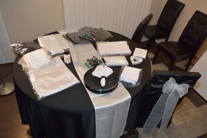 Black & White Wedding Linens, Anniversary, Head Table up to 10