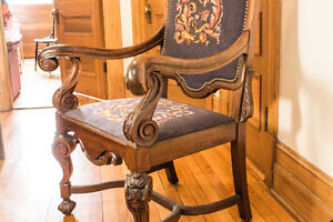 GREAT ARMCHAIR LIKE A THRONE, ANTIQUE WOOD + OTHER VINTAGE ITEMS